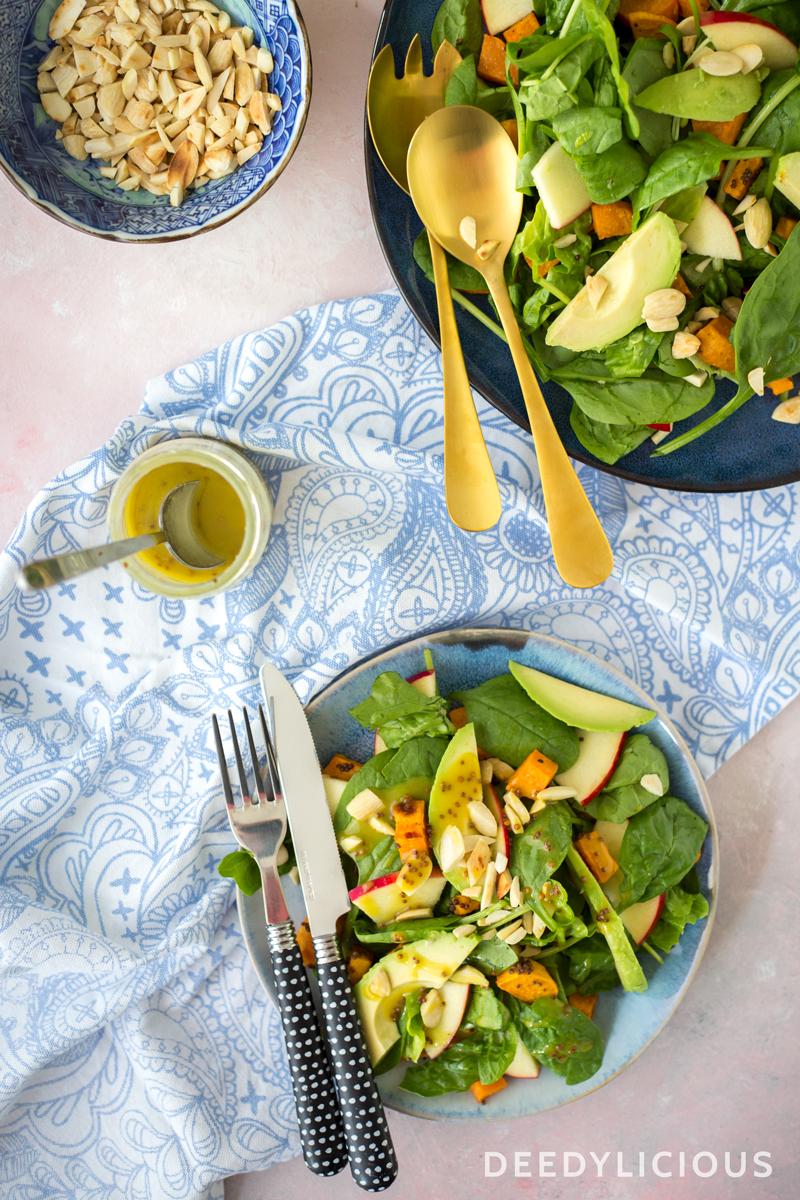 Spinaziesalade met zoete aardappel en mosterd | www.deedylicious.nl